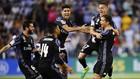 Các cầu thủ Real Madrid mừng bàn mở tỷ số của Ronaldo. Ảnh: AP