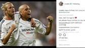 """""""Ronaldo béo"""" chúc mừng sinh nhật đồng đội cũ Beckham ở Real Madrid. Ảnh: Instagram"""