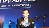 The Minister of Science and Technology Chu Ngoc Anh delivered a presentation in the conference. Photo by MC