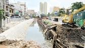 Khu vực công trường thi công công trình cải tạo kênh Hàng Bàng