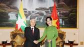 阮富仲總書記接見緬甸最高顧問昂山素姬。(圖源:越通社)