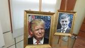 """""""2017年APEC各經濟體領導人肖像""""的同奈陶瓷拼貼畫展一隅。圖為美國總統特朗普肖像陶瓷拼貼畫。(圖源:互聯網)"""