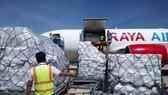東盟賑濟物資運抵金蘭機場。(圖源:黎慶)