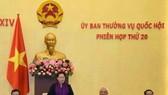 國會主席阮氏金銀(左二)致閉幕詞。