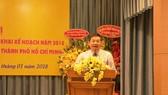 市資源與環境廳廳長阮全勝在會議上發言。