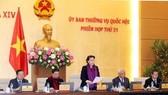 國會主席阮氏金銀(中)在會議上發表講話。(圖源:越通社)