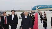 法國政府在巴黎奧利機場以隆重儀式迎接阮富仲總書記。(圖源:智勇)