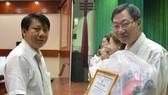潘清團主席贈送表揚書與禮物給周華邦。