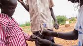 南蘇丹一名健康工作者為一名兒童接種了霍亂疫苗後在他手上做了記號。(圖源:聯合國)