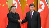 習近平(右)與金正恩握手致意。 (圖源:新華網)