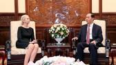 國家主席陳大光(右)接見挪威王國駐越南大使埃里克森。(圖源:顏創)