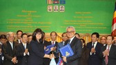 圖為貸款協議簽署儀式。(圖源:高棉日報)