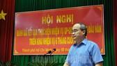 市委書記阮善仁在會議上發表講話。(圖源:市黨部新聞網)