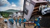 當地時間7月9日,日本廣島縣熊野市受暴雨引發洪水襲擊損失嚴重。(圖源:AFP)