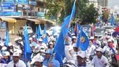 柬埔寨人民黨支持者在拉票。(圖源:互聯網)