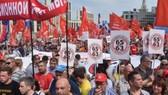 不滿法定退休年齡延後 數万俄羅斯人上街示威。(圖源:AFP)