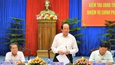 政府辦公廳主任梅進勇部長(中)在會議上發表講話。(圖源:CTV)