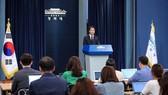 9月10日,韓國青瓦台總統秘書室室長任鐘皙在青瓦台舉行記者會。(圖源:韓聯社)