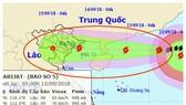 5號颱風將進入北部灣並轉弱。圖中畫紅圈的為5號颱風的移動方向。(圖源:國家水文氣象預報中心)