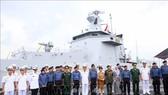 汶萊海軍巡邏艦迎接儀式一瞥。(圖源:越通社)