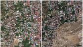 右圖:數千間房屋隨泥石流移動倒塌及被淹沒;左圖為強震及海嘯前拍攝影像。(圖源:互聯網)
