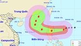 """""""玉兔""""超強颱風的移動方向。(圖源:國家水文氣象預報中心)"""