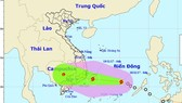 A new typhoon is moving towards the south central region of Vietnam (Photo: national weather bureau)