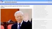 Báo chí Cuba đăng thông tin về chuyến thăm của Tổng Bí thư Nguyễn Phú Trọng