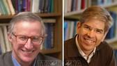 Hai nhà kinh tế học người Mỹ William D.Nordhaus (trái) và Paul M.Romer được trao giải Nobel Kinh tế năm 2018. Ảnh: Le Matin/ TTXVN