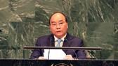Thủ tướng Nguyễn Xuân Phúc phát biểu tại Phiên thảo luận chung Đại hội đồng LHQ khóa 73 ở Hội trường trụ sở LHQ