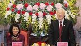 Tổng Bí thư, Chủ tịch nước Nguyễn Phú Trọng gặp mặt và làm việc với cán bộ, nhân viên Văn phòng Chủ tịch nước. Ảnh: TTXVN