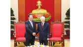 Tổng Bí thư, Chủ tịch nước Nguyễn Phú Trọng tiếp Thủ tướng Campuchia Samdech Techo Hun Sen   Ảnh: TTXVN