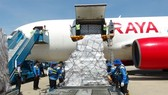 Aid arriving from ASEAN arrives at Cam Ranh Airport. — VNA/VNS photo