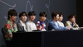 K-pop boy group BTS listens to a reporter's question during a press conference at a Seoul hotel on May 24, 2018. (Yonhap)