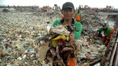 Workers clear up garbage piling up in Jakarta Bay area as part of the earliest local government combat against waste on its waters. (Source: (AFP/Dasril Roszandi)
