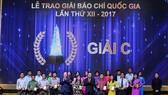 Lễ trao giải Báo chí Quốc gia lần thứ XII - năm 2017. Ảnh: VIETNAMPLUS. VN
