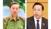 Bộ trưởng Bộ Công an Tô Lâm (trái) và Đại biểu Lưu Bình Nhưỡng, Ủy viên Thường trực Ủy ban Về các vấn đề xã hội. Ảnh: VIẾT CHUNG
