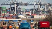 Xe tải vận chuyển hàng tấp nập ở cảng Savannah trong thành phố cùng tên thuộc bang Georgia, Mỹ.Ảnh: AP