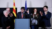 普伊格蒙特得知勝選後在布魯塞爾發言。