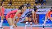 中國女排隊比賽中。