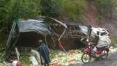 Đà Lạt: Xe tải chở rau lật nhào trên đèo Mimosa, 4 người bị thương