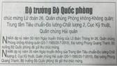 Bộ trưởng Phùng Quang Thanh gửi thư chúc mừng 2 đơn vị quân đội