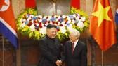 Tổng Bí thư, Chủ tịch nước Nguyễn Phú Trọng đón và hội đàm với Chủ tịch Kim Jong-un