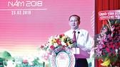 Ông Lưu Hoàng Tân - Chủ tịch kiêm giám đốc Công ty TNHH MTV  Xổ số kiến thiếtĐồng Tháp phát biểu chào mừng hội nghị