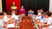 Phó Bí thư Thường trực Thành ủy Hà Nội Ngô Thị Thanh Hằng phát biểu tại buổi làm việc với Đoàn công tác Thành ủy TPHCM. Ảnh: HNM