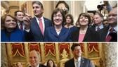 美國參議院(上)和眾議院(下)先後通過臨時預算法案。(圖源:AP)