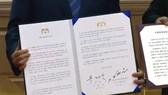 韓朝領袖在9月19日簽署《平壤共同宣言》。