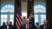 美國總統特朗普(中)在白宮主持召開內閣會議。(圖源:互聯網)