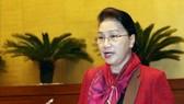 國會主席阮氏金銀在會議上發表講話。(圖源:越通社)