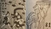 《爭風吃醋》(左)與《請檳榔》民間畫作。檳榔曾被視為一種春藥。